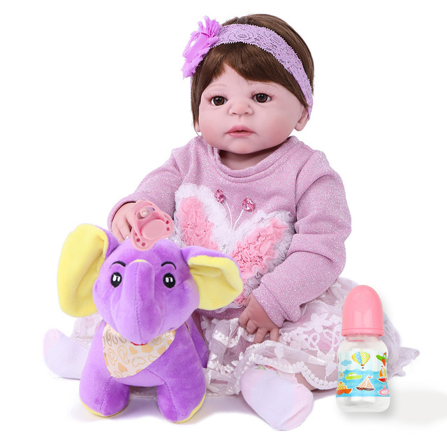 22 inch 55cm Full Body Silicone Reborn Baby Dolls Alive Lifelike Real Dolls  Realistic Kids Reborn Babies Princess Girl Toys Gift