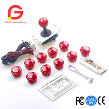 Arcade Game DIY Parts Kit For PC And Raspberry Pi 1/2/3 With RetroPie, 5Pin Joystick And 30MM Button - Red pocket mini arcade game 2 inch hd ips lcd raspberry pi 3 32g card recalbox system it need booking and available in 20 days