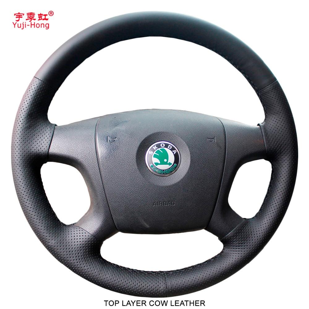 Yuji Hong Genuine Cow Leather Car Steering Wheel Covers Case for SKODA Octavia 2007 2009 Hand