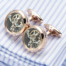 High quality Movement Tourbillon Cuff links Designer Cufflinks Stylish Steampunk Gear Watch Cuffs Shirt Sleeve Buttons Men