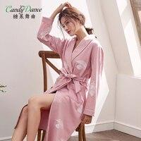 Women's robe spring and autumn long sleeve 100% cotton bathrobes thin sexy long design plus size sleepwear