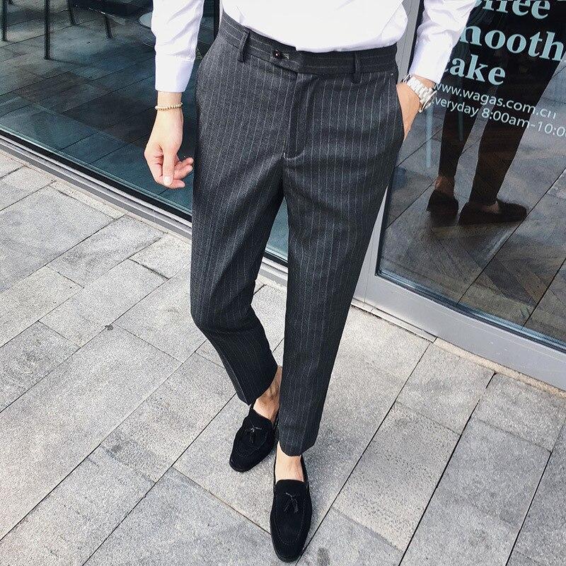 Ufficio Vestito Da Khaki Del Homme Pantalon Affari Nero Costume Uomo Di  Pantaloni Della 3 gray ... 495c97a9dbd