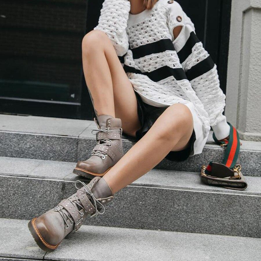 Prova Perfetto rivet ceinture boucle à lacets femmes bottines en cuir véritable gladiateur martin bottes plate forme caoutchouc bottes courtes - 5