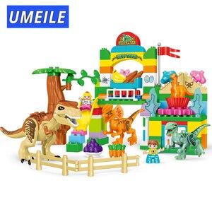 Image 3 - UMEILE 15/39/65/100 pièces jurassique dinosaure monde grands blocs de construction jouets Animal ensemble brique Compatible avec Legoing Duplo Gift