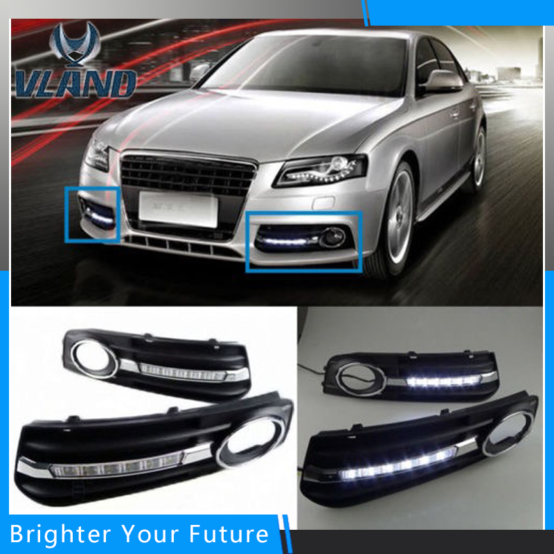 2pcs Daytime Running Lights DRL With Fog Lamp DRL for Audi A4L B8 2009 2010 2011 2012 drl daytime running lights for audi a4 b8 2009 2010 2011 2012 auto led day driving lamp with fog lamp hole free shipping