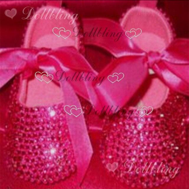 Caliente rosa Rosa roja de la cinta princesa prewalkers suave bling de encargo hecho a mano crystal sparkle Bautizo zapatos de raso