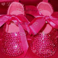 Hot pink Rose red ribbon princess soft prewalkers bling custom handmade crystal sparkle Christening satin shoes