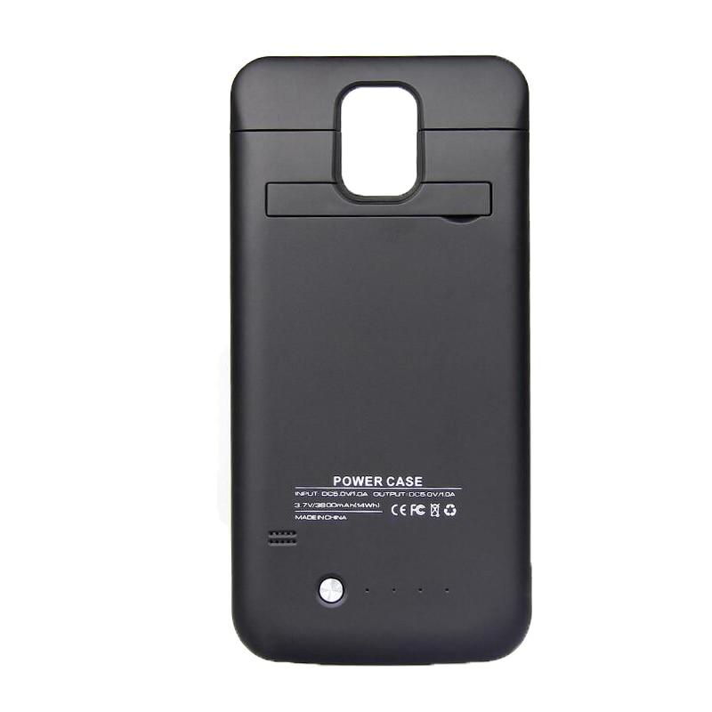 imágenes para 3800 mah para samsung galaxy s5 i9600 caso del cargador de batería externa energía de la batería de copia de seguridad de caso de la contraportada con el soporte para samsung S5