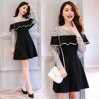 Fashion hollow lace shawl dress 2017 autumn long sleeve mini dresses woman sexy vintage black dress female long sleeve fitness