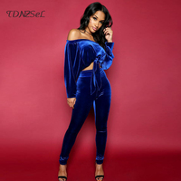 2018 Women Sexy Velvet 2 Two Piece Sets Long Sleeve Strapless Lace Up Crop Tops High