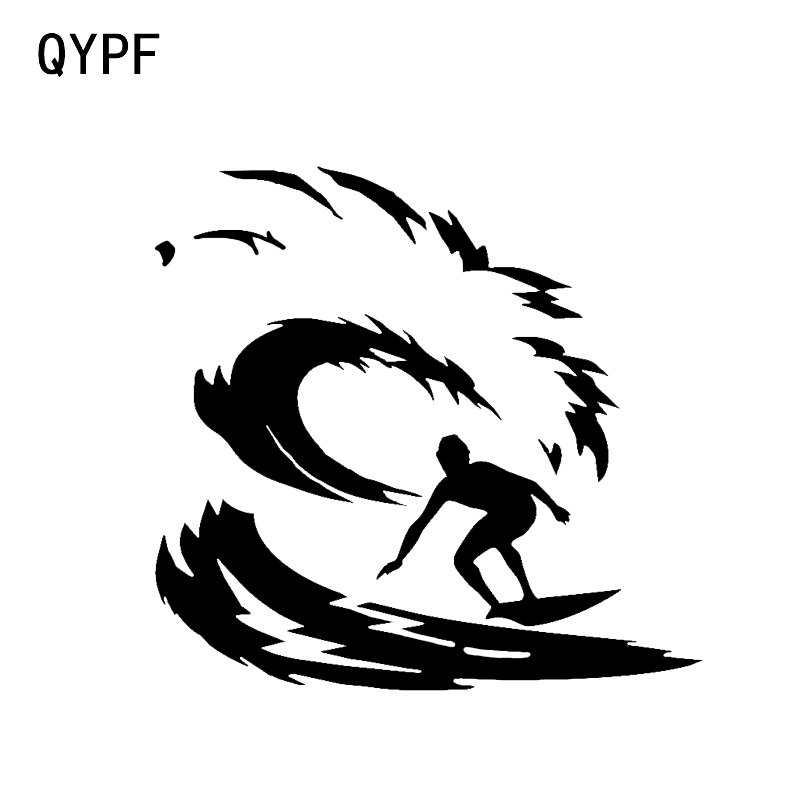 QYPF 13.6*13.1CM Interesting Surfing Decor Car Sticker Silhouette Accessories Vinyl C16-0742