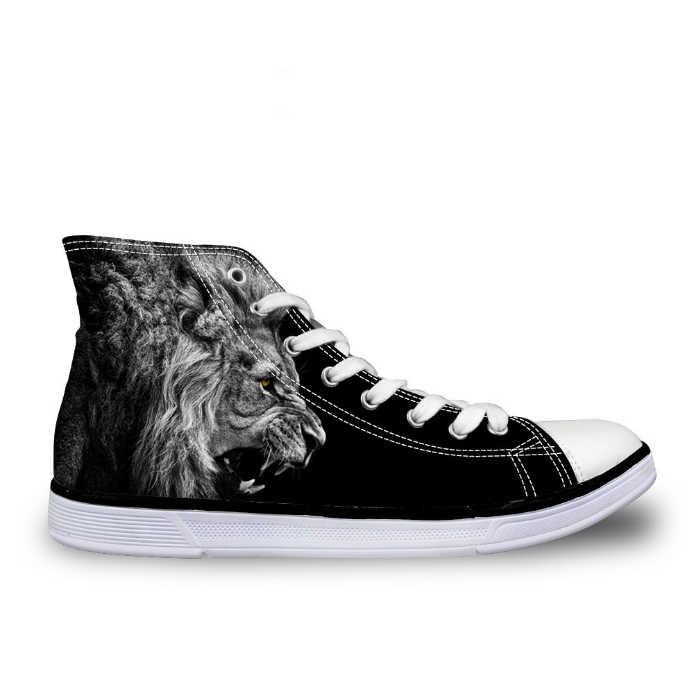 Customized 2019 Spring Men's Lace-up Vulcanize Canvas <font><b>Shoes</b></font> <font><b>3D</b></font> Tiger Print Student Goy Man High Top <font><b>Shoes</b></font> New Zapatillas Male image