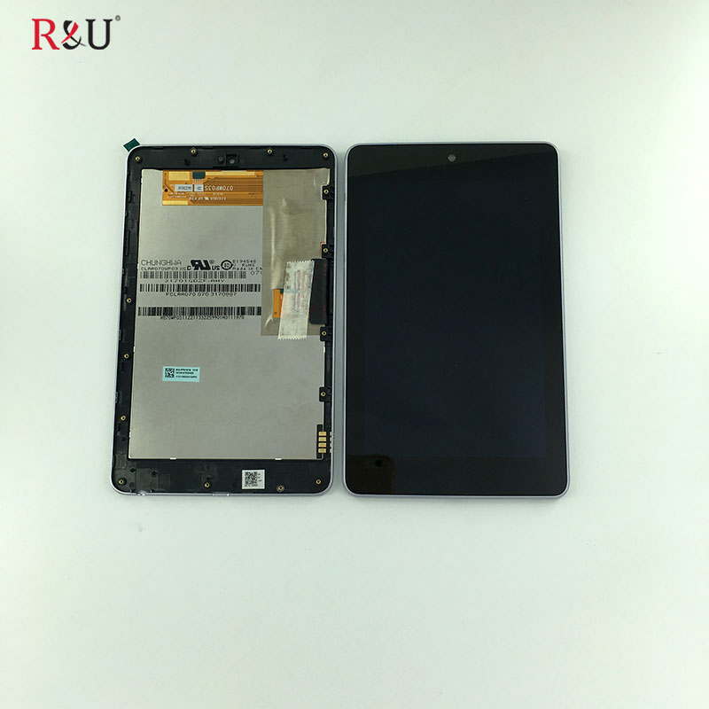 R&U LCD display + Touch screen panel Digitizer assembly with frame for ASUS Google Nexus 7 nexus7 2012 ME370 ME370T wifi version high quality 4 95 for lg google nexus 5 d820 d821 full lcd display touch screen digitizer assembly complete with frame black