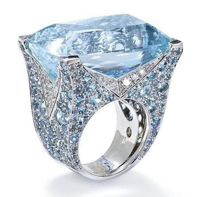 brixini.com - Exquisite Sea Blue Cocktail Rings