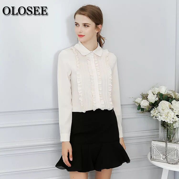 New Spring Long Sleeve Shirt Doll Collar Long Sleeved Shirt Wome Flounce Women Casual Shirt Women Tops And Blouses