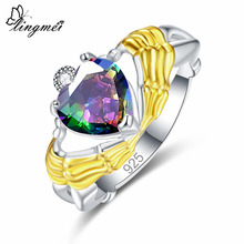 Lingmei Wedding Engagement Exquisite Heart Cut Multicolor & White Red Zircon Silver Claddagh Ring Size 6 7 8 9 Jewelry Gift