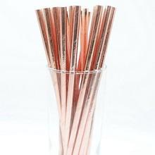 25 шт. фольга золото розовое золото серебро бумажные соломинки Свадебные сувениры звезда питьевой соломки для дней рождения вечерние украшения Детские принадлежности для вечеринок