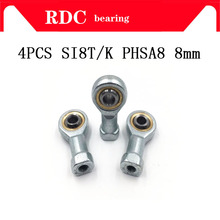 4pcs SI8T/K PHSA8 8mm High quality right hand female thread metric rod end joint bearing M8*1.25mm SI8 TK shalft power tool auto