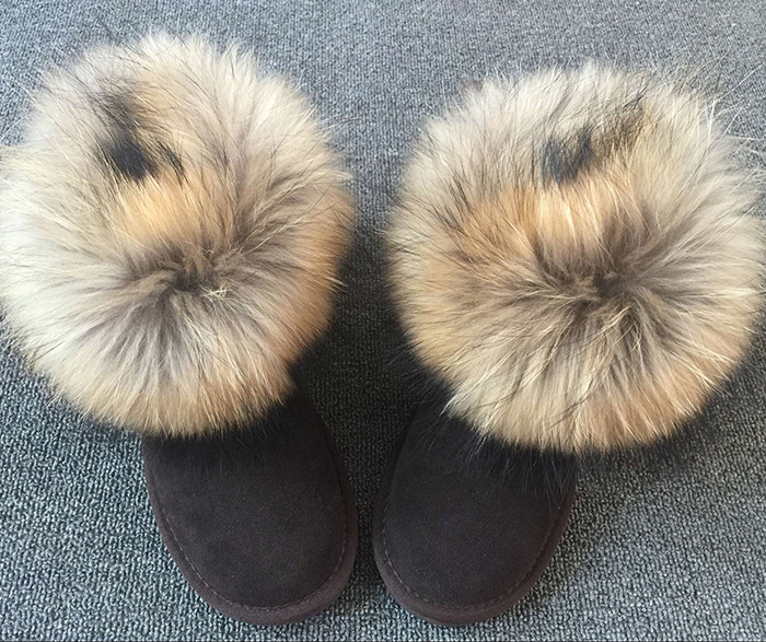100% Genuine Sheepskin Leather Snow Boots  Waterproof Women Boots Warm Wool Natural Fur Winter Boots Women Boots