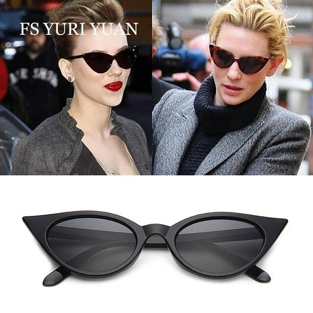 0624a46617d FS YURI YUAN Cat Eye Sunglasses Women Fashion Brand Designer Retro Black  Cat Eye Sun Glasses