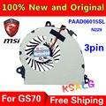 Original novo Laptop Ventilador de Refrigeração Para MSI GS70 GS72 MS-1771 MS-1773 GPU GTX 765 M PAAD06015SL 0.55A 5VDC N229