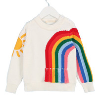 Autumn Baby Toddler Girls Sweater Knitwear Rainbow Long Sleeve Pullover Cardigan Mother And Daughter Son Children