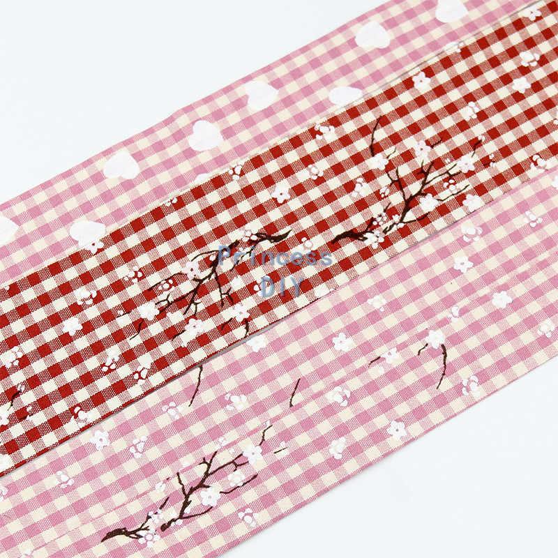 5 מטרים\חבילה 10 25 50mm Wintersweet מודפס ורוד משובץ סרט אדום צהוב מקופל כותנה סרט DIY BowTie צווארון קרפט חומר
