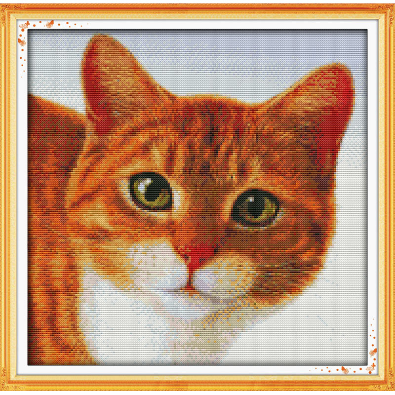 Everlasting love Lovely cat Chinese cross stitch kits Ecological cotton stamped printed 11CT DIY new year decorations for home