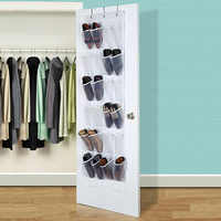 24 pocket clear hanging shoe organizer bathroom holder storage base living room shoe rack hanger sorting PVC door hanging bag