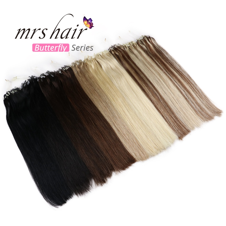"""MRSHAIR Straight Loop Micro Ring Hair 14""""-24"""" 1g/pc 50pieces Micro Bead Links Machine Made Remy Easy Ring Link Hair Extensions"""