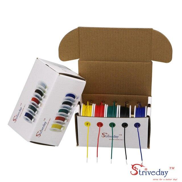 Cable de cobre estañado UL 1007 26AWG 50m, PCB, 5 colores, mezcla de cables sólidos, Kit de Cable eléctrico DIY