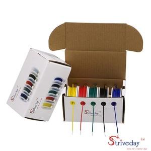 Image 1 - UL 1007 26AWG 50 m כבל קו משומר נחושת PCB חוט 5 צבע לערבב מוצק חוטים ערכת חוט חשמל DIY