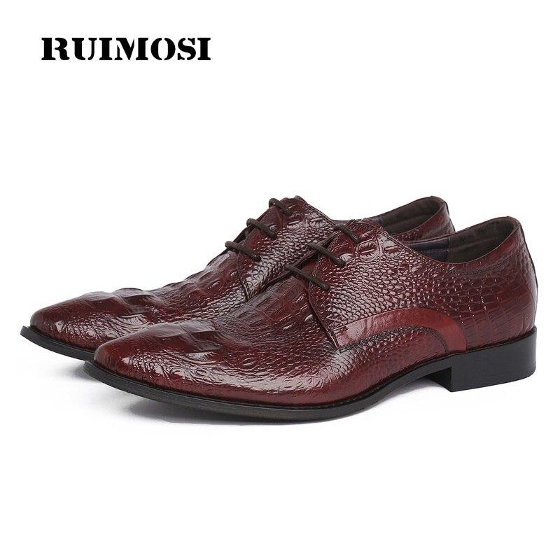 RUIMOSI Formal Man Crocodile Dress Shoes Genuine Leather Wedding Oxfords Luxury Pointed Toe Derby Handmade Men's Footwear WD88