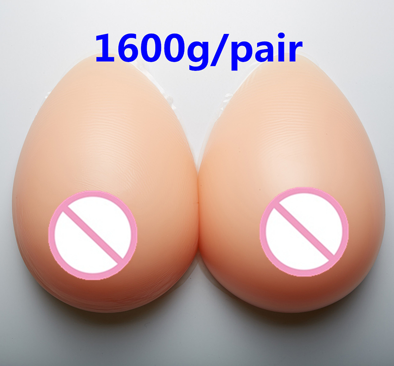 1600g/pair Artificial Breast Silicone False Breasts Boobs Breast Forms Silicone Prosthesis For Crossdresser Shemale