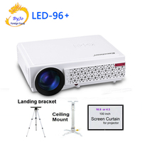 LED96 LED Projector 1080P 5500lumens With Curtain Or Stand HDMI USB 1280x800 Full HD Home Theater