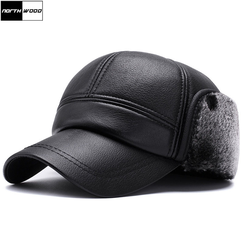 [NORTHWOOD] Winter Mens Leather   Baseball     Caps   with Earmuffs Earflaps Warm Dad Hats For Men Male Bone Gorras Casquette Snapbacks