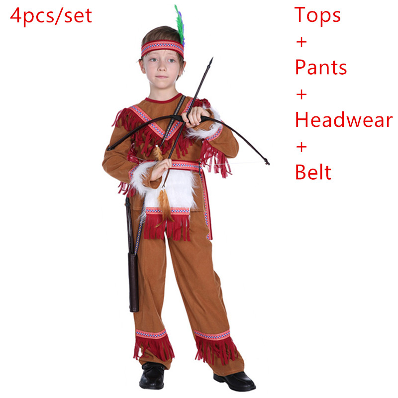 Carnival Mardi Gras Halloween Costumes American Indian Princess Cosplay boys Native Hunter Huntress Costume Fancy Dress for Kids
