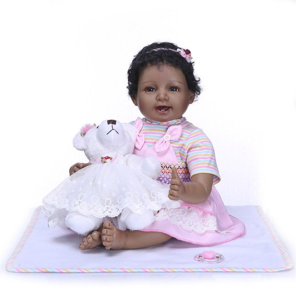 все цены на Nicery 20-22inch 50-55cm Bebe Reborn Doll Indian Style Soft Silicone Boy Girl Reborn Baby Doll Toy Gift for Child White Bear онлайн