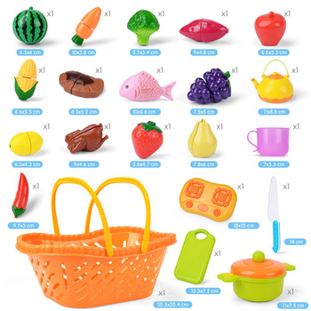 20pcs New Plastic Kitchen Food Fruit Vegetable Cutting Toy Baby Kid  Pretend Play Educational Toys for Children Cooking Cosplay 1