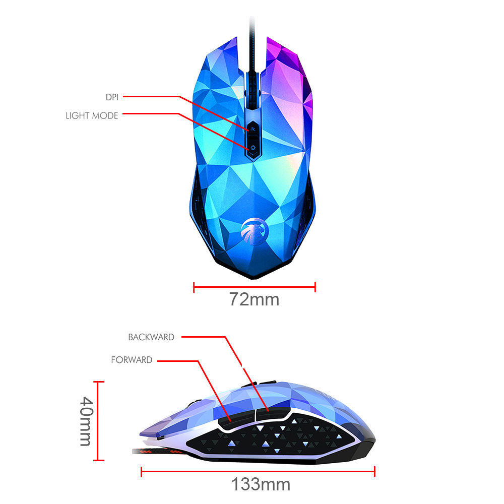 6 Buttons Dazzle Colour Diamond Edition Gaming Usb Computer Mouse Wiring Diagram Breathing Led Backlit Mice Wired For Pro Gamer Pc In From Office On