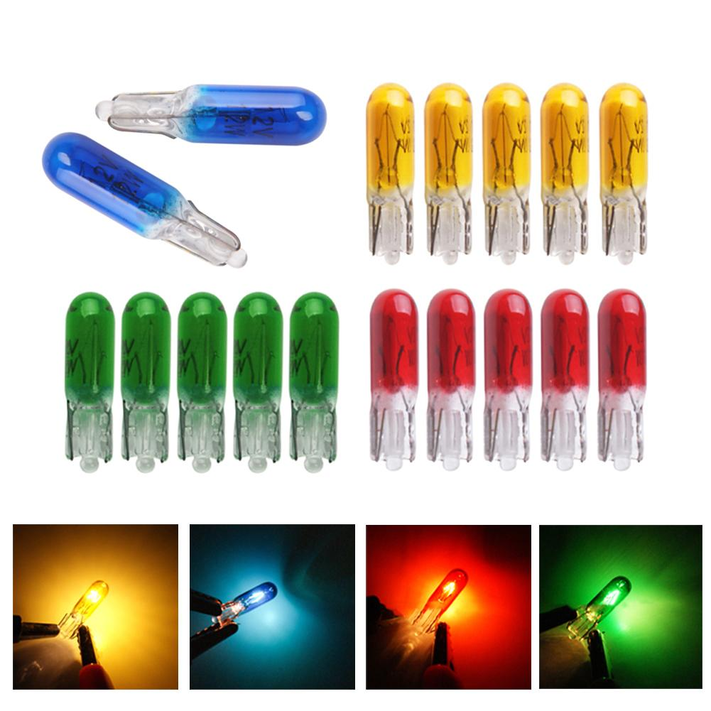 50PCS LED Car Light Instrument Bulb <font><b>T5</b></font> <font><b>12V</b></font> <font><b>1.2W</b></font> Central Control Indicator Light Button Halogen Lamp Blue/Green/Red/Yellow Source image