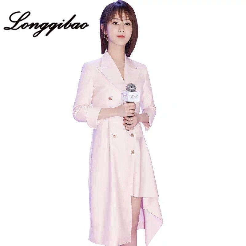 Di alta qualità 2019 delle donne di modo di stile degli esteri irregolare vestito vestito profumo di vita del vento Hong Kong stile fresco vestito di vento - 4