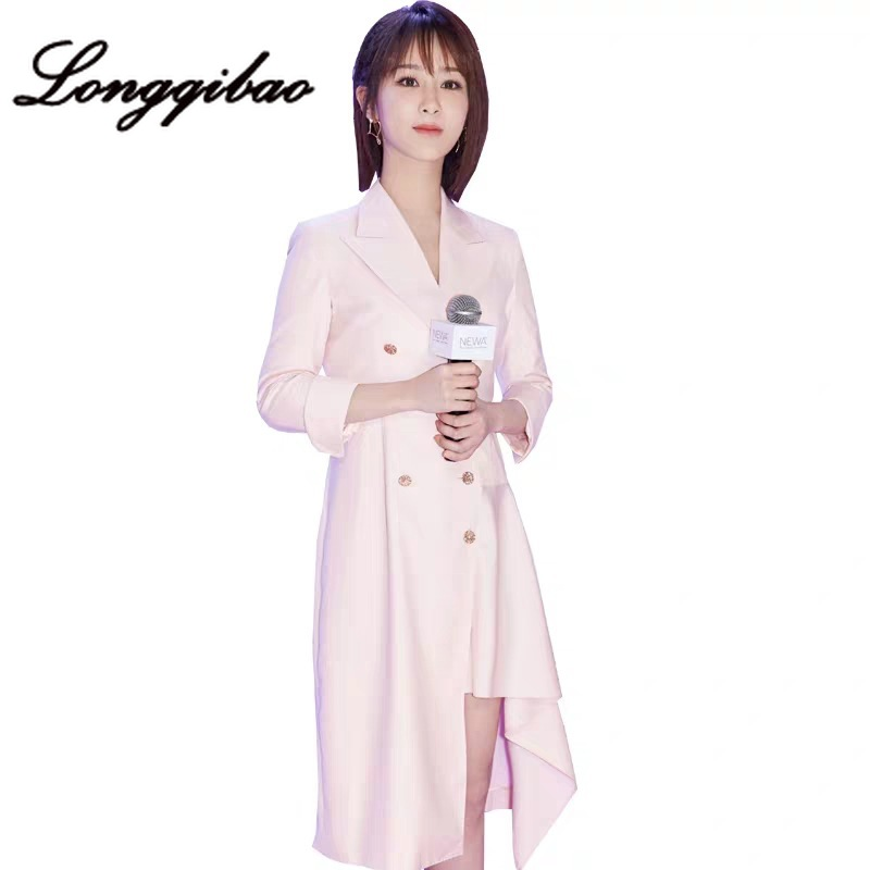 High quality 2019 fashion women's foreign style irregular suit dress fragrance wind waist Hong Kong style cool wind dress - 4