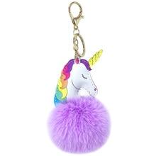 PU Единорог волос мяч брелок висячая модная женская сумка висячая с кроличьими волосами
