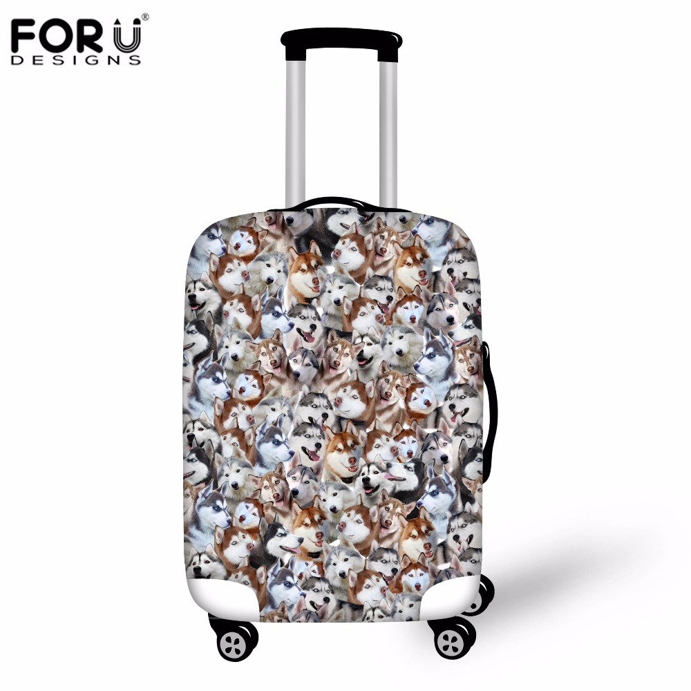 FORUDESIGNS 3D Huskies Suitcase Luggage Protective Covers Elastic Waterproof Covers For 18 20 22 24 26 28 30 Inch Trolley Cases