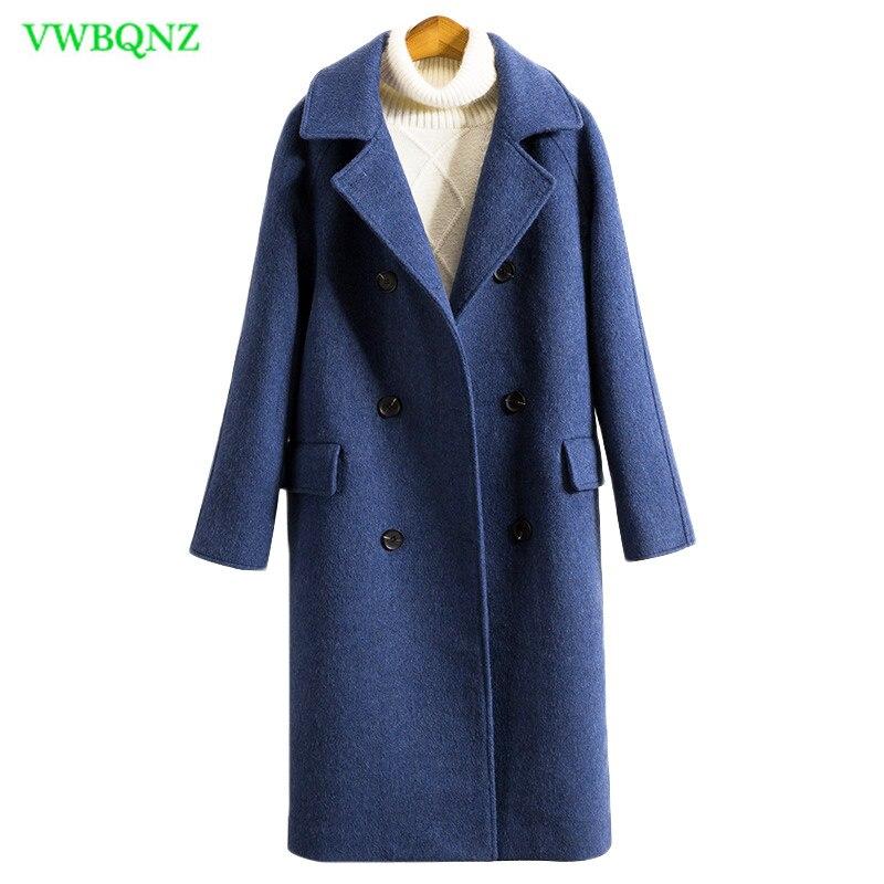 Women Double-faced cashmere coat Autumn Winter Long Wool Coats Fashion Overcoat Ladies Wide-Waisted Blue haze Woolen Coats A939