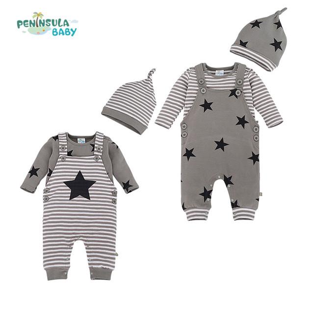 2016 Outono nova bebés meninos meninas romper do bebê conjuntos de roupas de algodão de manga comprida t-shirt + macacão + chapéu roupas para recém-nascidos infantil