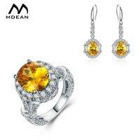 MDEAN Jewelry Sets Yellow AAA Zircon Engagement Ring Earring Accessories For Women Luxury Wedding Bijoux Bague