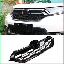 цена на For Honda CR-V CRV 2017 2018 FRONT Bumper Glossy Black Upper Mesh Radiator RACING GRILLE Grill Cover Trim Car Styling
