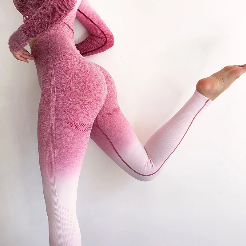 Nessaj Workout Stretchy Energy Ombre Seamless   Leggings   Women's Fashion Casual Pants High Waist Sporting Fitness   Leggings